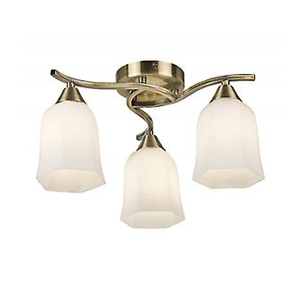 Alonso Ceiling Lamp, Antique Brass And Glass, 3 Bulbs