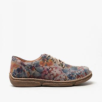 Josef Seibel Neele 02 Ladies Leather Shoes Graphite Floral