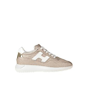 Hogan Ezgl028118 Women's Gold Leather Sneakers
