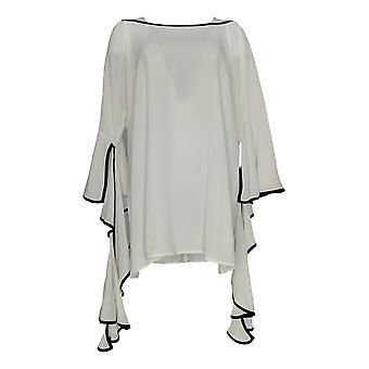 K Jordan Women's Plus Top Ruffle Sleeve Top White White