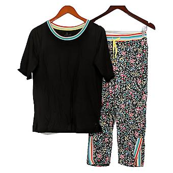 Cuddl Duds Women's Pajama Set Smart Comfort Cropped Black A376233