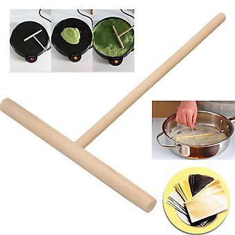Pancake Batter Wooden Spreader Stick T Shaped - Egg Cake Scraper