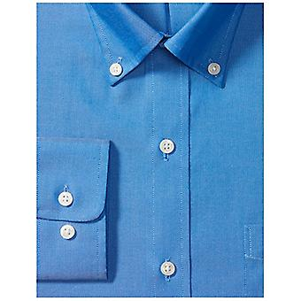 "BUTTONED DOWN Men's Classic Fit Button-Collar Solid Non-Iron Dress Shirt (Pocket), French Blue, 15.5"" Neck 32"" Sleeve"