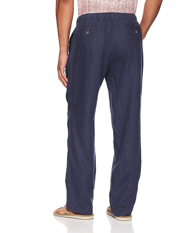 28 palmas hombres's pantalón de lino relaxed-fit con cordón, noche azul, X-grande/30...