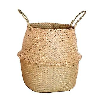 Seagrass Wickerwork Rotin Hanging Flower Storage Basket For Home