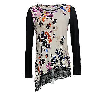 LOGO door Lori Goldstein Women's Top Printed Knit Lace Hem Beige A294731