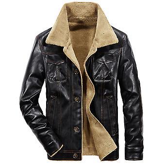 Allthemen Men's Trendy Handsome Lapel Thicken Zipper Motorcycle Leather Jacket Coat