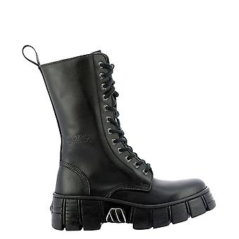 Nieuwe Rock Wall027basac1 Women's Black Leather Enkellaarsjes