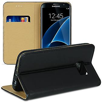 Mobile Case for Samsung Galaxy S7 Edge Wallet TPU Magnetic Lock Microfiber Black