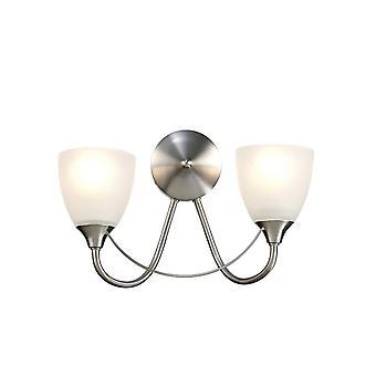 Inspireret Deco - Cooper - Væglampe 2 Lys E14 Satin Nikkel, Opal Glas