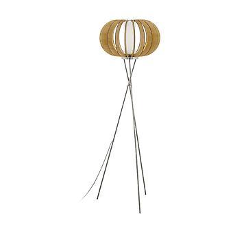 1 Light Wood Floor Lamp Satin Nickel , Maple, E27