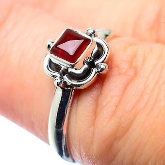 Red Onyx Ring Size 6.25 (925 Sterling Silver)  - Handmade Boho Vintage Jewelry RING26503