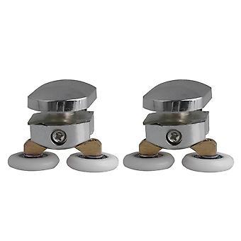 2x Zinc Alloy Adjustable Upper Roller Shower Door Twin Wheels