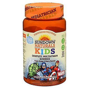 Sundown Naturals Kids Marvel Complete Multivitamin Gummies Grape - Oranje en Kers, 60 elk