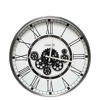 London Modern moving cogs Clock Black & White