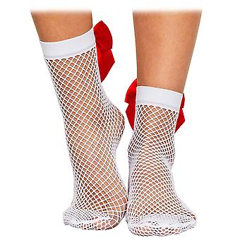Fishnet Stockings with Red Bow, One-Size - White