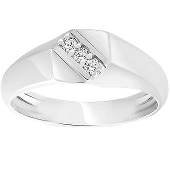 Herre 1/10ct Hvid Guld Diamond Flat Classic Anniversary Band 10K