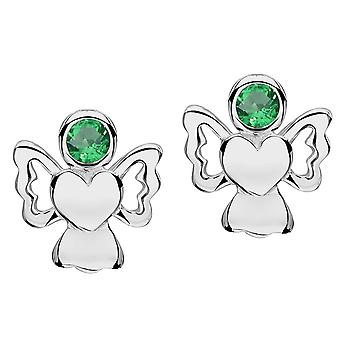 Jo For Girls Sterling Silver May Simulated Birthstone Angel Stud Earrings