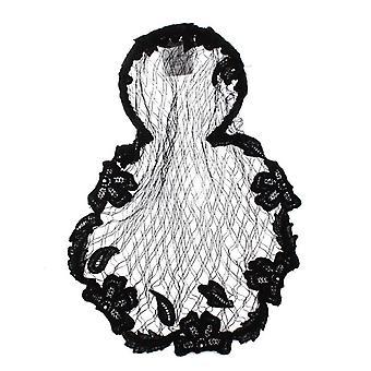 أسود الأزهار الكروشيه شبكة الشعر