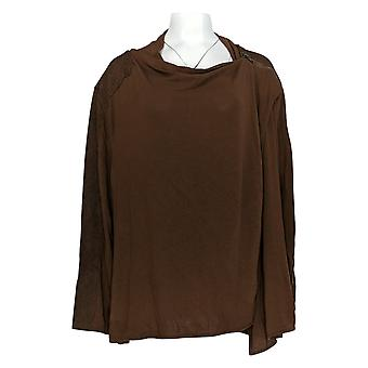 DG2 por Diane Gilman Women's Plus Sweater Brown Long Sleeve Animal 732-055