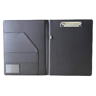 A4 Pu Leather, File Folder Paper Clip, Padfolio For Office, School, Desk