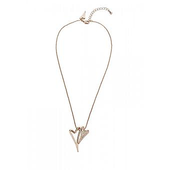 Miss Dee Rose Gold Plated Double Crystal Heart Pendant And Chain