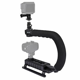 PULUZ U/C Shape Portable Handheld DV Bracket Stabilizer + Video Shotgun Microphone Kit with Cold Shoe Tripod Head  for All SLR Cameras and Home DV Cam