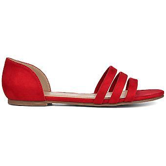Brinley Co. Womens Open-Toe Ankle Cuff Flat