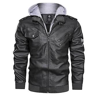 Autumn Winter Men's Motorcycle Leather Jacket, Windbreaker Hooded Male Outwear