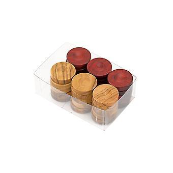 Deluxe olijf hout Backgammon stenen natuurlijke & rode 26mm