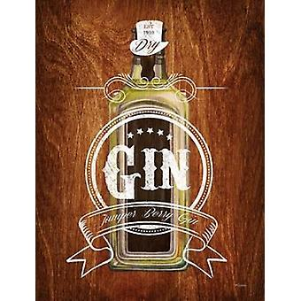 Gin Drinker Wood Sign Poster Print by Sam Appleman