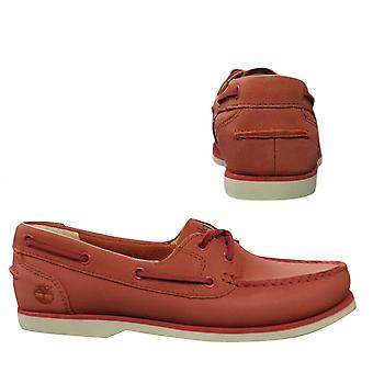 Timberland Earthkeepers Classic Womens Boat Shoes Deck Leather Coral A1ART Z23B