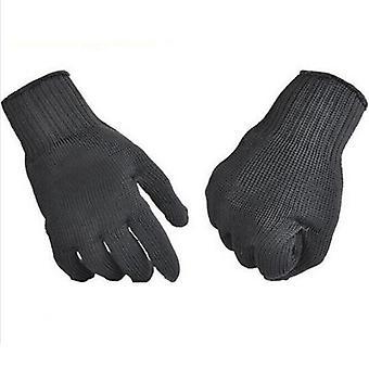 Zahradní černé ocelové drátěné kovové rukavice, bezpečnostní, proti řezání,