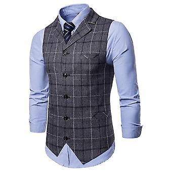 Mens Vest Casual, Business Suit Male, Lattice Waistcoat, Sleeveless Smart