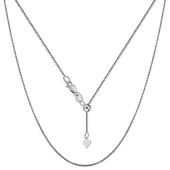 """10k White Gold Adjustable Box Link Chain Necklace, 0.7mm, 22"""""""