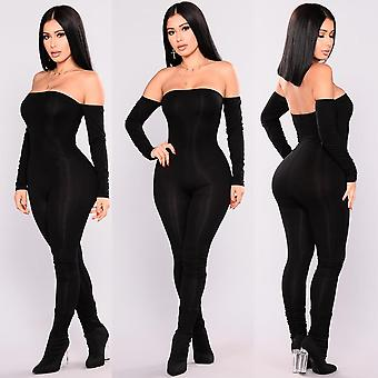 Jumpsuit Frauen, Off Shoulder Bodycon Long Sleeve Clubwear Playsuit