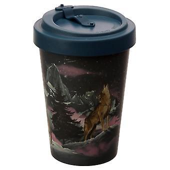 Bamboo composite protector of the north wolf reusable mug