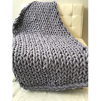 Chenille Chunky Knitted Blanket Weaving Mat Throw Chair Decor Warm Yarn Knitted