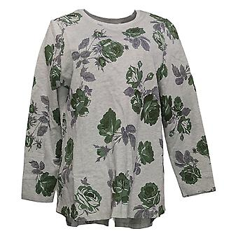 Denim & Co. Women's Sweater Floral Printed Long Sleeve Gray A260202