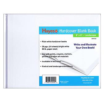 """Plain White Hardcover Blank Book, 28 Pages (14 Sheets) Measures 8"""" W X 6"""" H"""