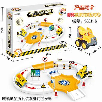 Children's engineering vehicle track parking lot toy