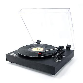 Vinyl muziek op retro platenspeler voor 33/45/78 rpm vinyl platen, bluetooth riem-drive draaitafel wit wof46825