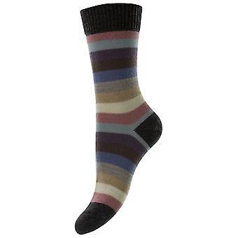 Pantherella Suzannah Multi Stripe Merino Wool Socks - Dark Grey Mix