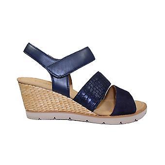 Gabor Poet 752-16 Sandalias de cuña de cuero azul para mujer