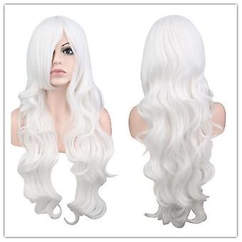 80Cm طويلة مجعد الشعر cosplay أنيمي شعر مستعار حليبي أبيض