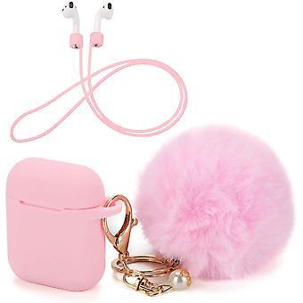 Ochranný kryt pouzdra s roztomilým pouzdrem Pompom Ball Keychain kompatibilní pro AirPody (růžový)