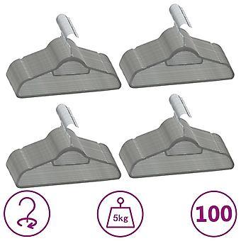 vidaXL 100 pcs. hanger set anti-slip grey velvet