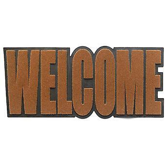 fußmatte Welcome 32,5 x 75 cm Gummi/Polyester braun