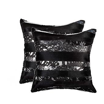 """18"""" x 18"""" x 5"""" Gold And Black  Pillow 2 Pack"""