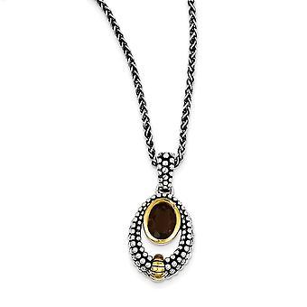 925 Sterling zilveren bezel gepolijst open rug kreeft klauw sluiting met 14k smokey quartz ketting sieraden geschenken voor Wome